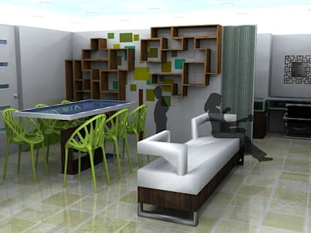 Children's games room and study area: minimalistic Media room by CKW Lifestyle