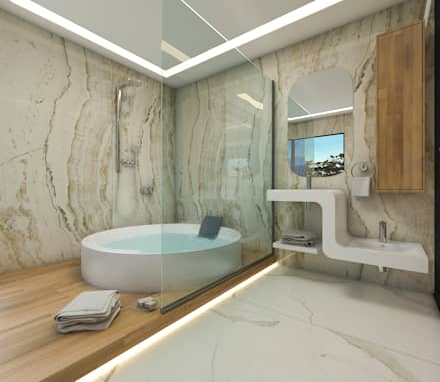ABDULBALABEY TASARIM OFİSİ – BANYO: modern tarz Banyo