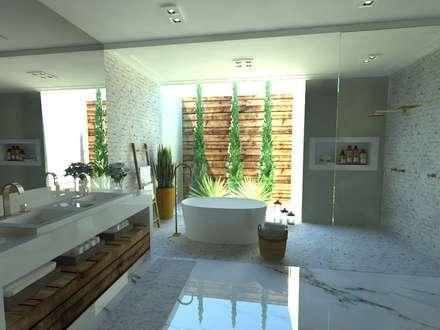 Casa de Banho do Casal: Banheiros ecléticos por Gláucia Brito Interiores