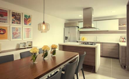 Apto  Felisa: Cocinas de estilo moderno por Maria Mentira Studio