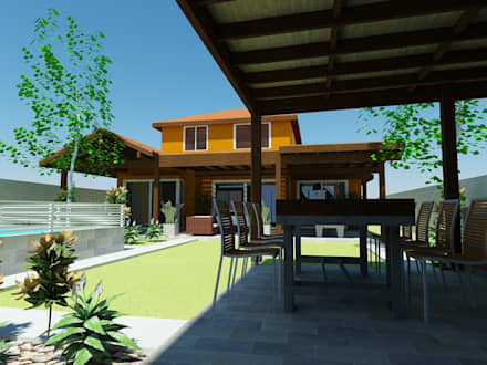 Vista desde Quincho: Terrazas  de estilo  por mDM Arquitectura