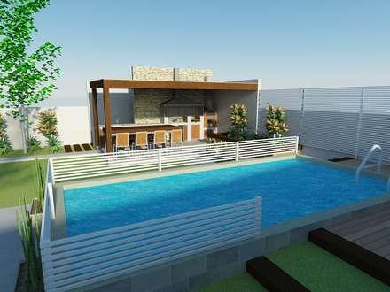 Piscina y quincho: Terrazas  de estilo  por mDM Arquitectura