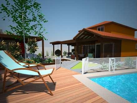 Vista exterior: Terrazas  de estilo  por mDM Arquitectura