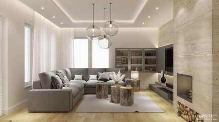 Projekt wnętrz domu jednorodzinnego w Piekarach: styl , w kategorii Salon zaprojektowany przez PRØJEKTYW   Architektura Wnętrz & Design
