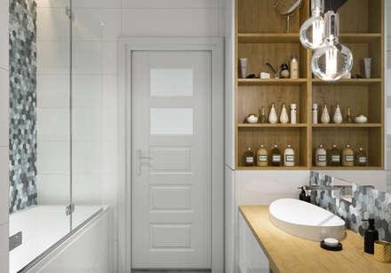 Projekt łazienki. Kraków Nowe Czyżyny: styl , w kategorii Łazienka zaprojektowany przez PRØJEKTYW   Architektura Wnętrz & Design