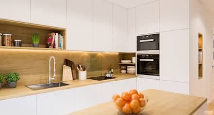 Projekt mieszkania. Kraków Śródmieście: styl , w kategorii Kuchnia zaprojektowany przez PRØJEKTYW | Architektura Wnętrz & Design