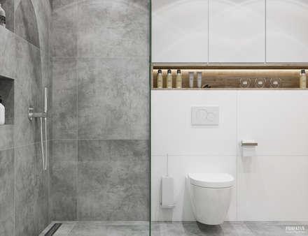 Projekt mieszkania. Kraków Bronowice: styl , w kategorii Łazienka zaprojektowany przez PRØJEKTYW | Architektura Wnętrz & Design