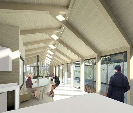 Vista desde cocina: Pasillos, hall y escaleras de estilo  por GAALGO Arquitectos