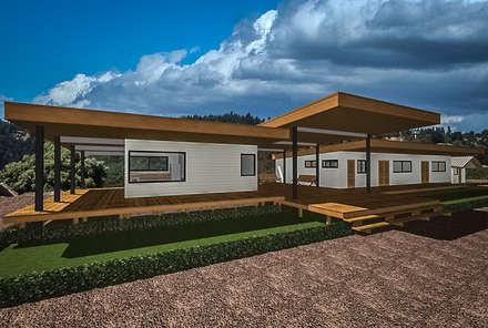 Diseño Escuela Rural Chanquiuque. Constitución. Chile.: Casas de estilo rural por CMarquitecto