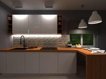 Дом с оливковой гостиной: Кухни в . Автор – AM Design