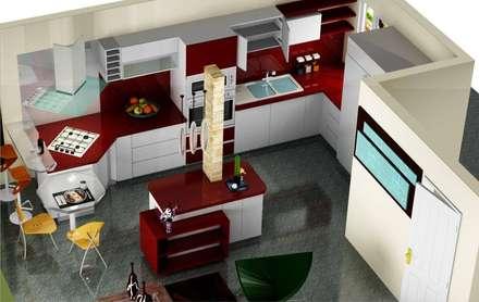 COCINA: Cocinas de estilo moderno por ESTUDIO DE ARQUITECTURA C.A