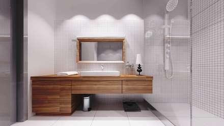 Widok łazienki - umywalka w zabudowie drewnianej: styl , w kategorii Łazienka zaprojektowany przez e-Architekt