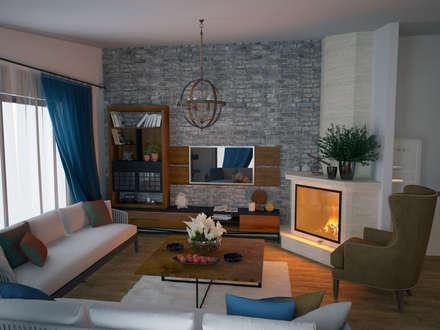 Öykü İç Mimarlık – Villa Projelerimiz (3D): modern tarz Oturma Odası