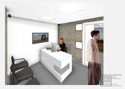 Vista 3D Recepción. Versión 4-02: Oficinas de estilo minimalista por Eisen Arquitecto