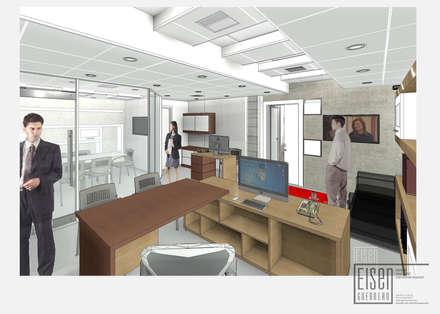 Vista 3D desde Escritorio ejecutivo.: Oficinas de estilo minimalista por Eisen Arquitecto
