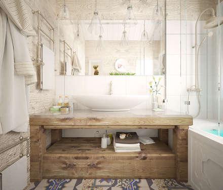 Дом в стиле дачный шик: Ванные комнаты в . Автор – Дизайн-бюро Анны Шаркуновой 'East-West'
