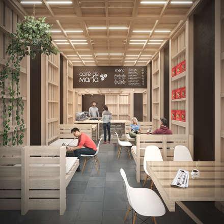 Interior: Espacios comerciales de estilo  por B+V Arquitectos
