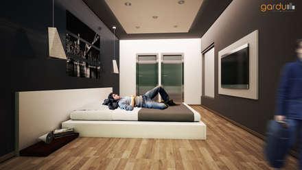 Recamara Moderna : Recámaras de estilo minimalista por GarDu Arquitectos