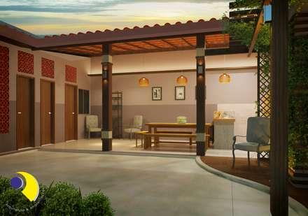 Garajes y galpones de estilo  por Reinaldo Pampolha Arquitetura