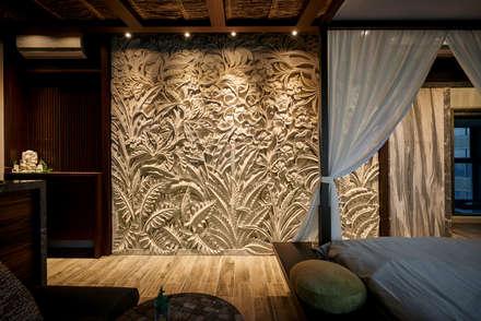 天然石牆,磅礡呈現。:  牆壁與地板 by 有偶設計 YOO Design