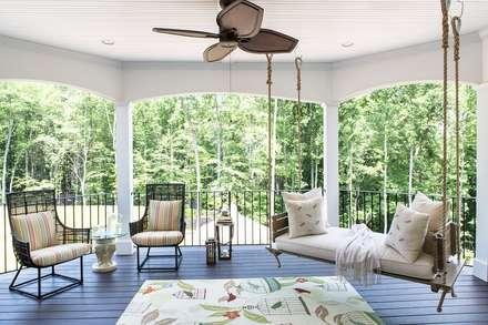 Riverside Retreat - Sun Porch:  Patios & Decks by Lorna Gross Interior Design