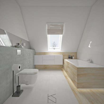 Łazienka na poddaszu, Radwanice: styl , w kategorii Łazienka zaprojektowany przez KN.wnętrza