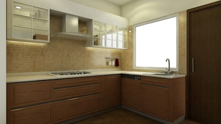 Sobha City - Casa Paradiso: eclectic Kitchen by KRIYA LIVING