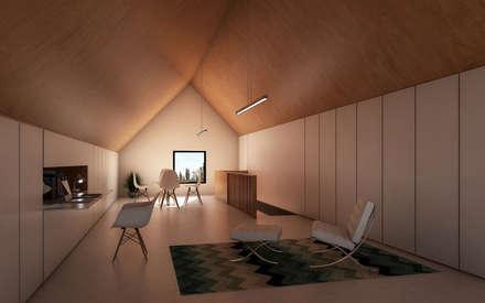 Vivienda Cabox: Estudios y oficinas de estilo minimalista por BDB Arquitectura