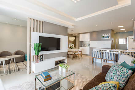 Projeto CV: Salas de estar modernas por Juliana Agner Arquitetura e Interiores