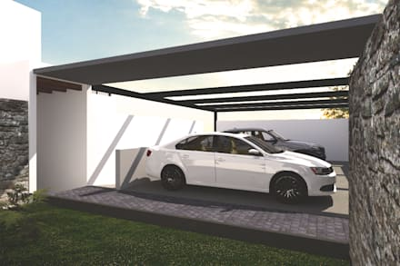 Cochera & Entrada principal: Garajes de estilo moderno por Bloque Arquitectónico