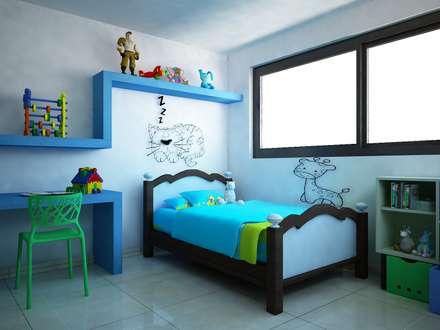 Casa V & Y: Recámaras infantiles de estilo minimalista por Ecourbanismo