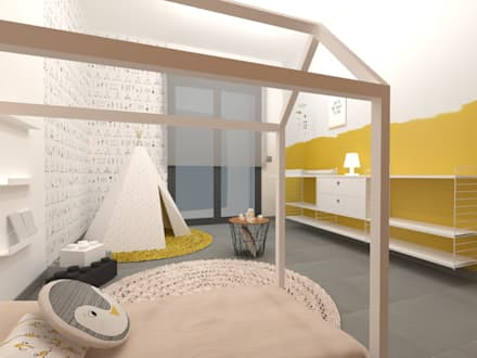 Diseño interior de dormitorio infantil Método Montessori en casa: Dormitorios infantiles de estilo escandinavo de TocToc