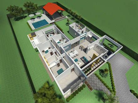 Perspectiva aérea del interior: Casas de estilo moderno por Arquitecto Pablo Restrepo