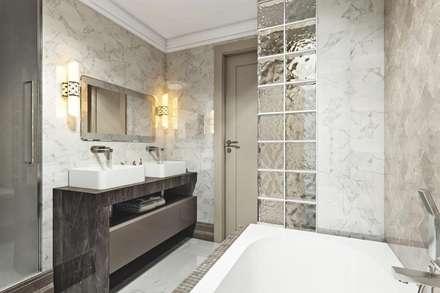 Стеклоблоки: Ванные комнаты в . Автор – Дизайн студия Алёны Чекалиной