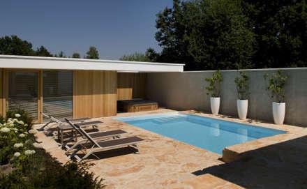 Het Witte Huis: modern Zwembad door WillemsenU