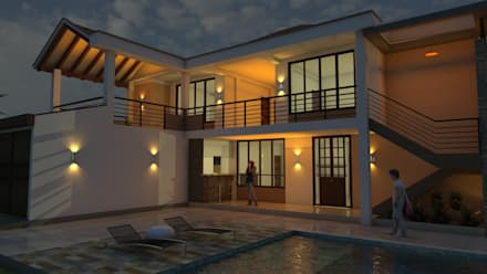 Iluminación exterior: Terrazas de estilo  por Arquitecto Pablo Restrepo