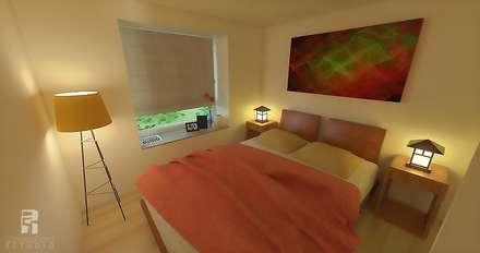Dormitorio principal con bow window: Dormitorios de estilo ecléctico por Christian Fierro Estudio