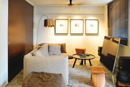 Apartment at Bukit Ho Swee: asian Living room by Quen Architects