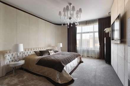 Дизайн квартиры в Гранатном переулке: Спальни в . Автор – Студия дизайна интерьера в Москве 'Юдин и Новиков'