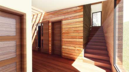 Área Escalera : Pasillos, hall y escaleras de estilo  por GerSS Arquitectos