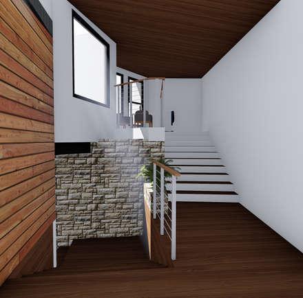 Acceso: Pasillos, hall y escaleras de estilo  por GerSS Arquitectos