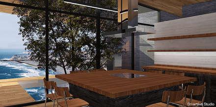 Cocina abierta con comedor de diario: Cocinas de estilo moderno por Smartlive Studio