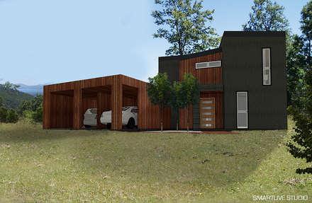 Proyecto Inmobiliario Refugio Alma : Garages de estilo moderno por Smartlive Studio