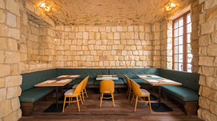 Detalle Bóveda en piedra: Locales gastronómicos de estilo  por KDF Arquitectura