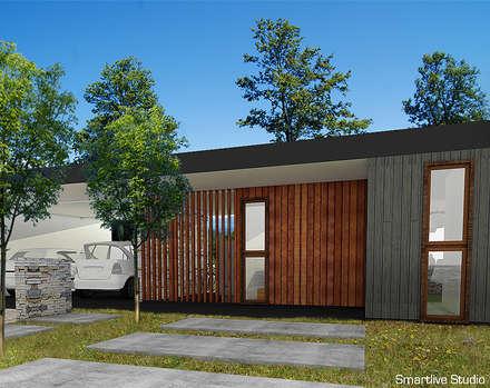 Proyecto inmobiliario Horizonte: Pasillos, hall y escaleras de estilo  por Smartlive Studio