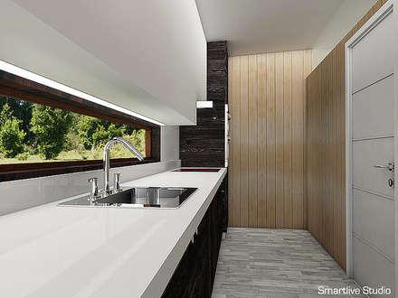 Proyecto inmobiliario Horizonte: Cocinas de estilo moderno por Smartlive Studio