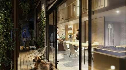 PORCHE - INTERIOR: Casas de estilo tropical por SUPERFICIES Estudio de arquitectura y construccion