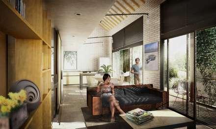ZONA SOCIAL: Casas de estilo tropical por SUPERFICIES Estudio de arquitectura y construccion