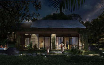 FACHADA FILTRANTE NOCHE: Casas de estilo tropical por SUPERFICIES Estudio de arquitectura y construccion