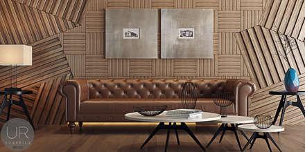 Uğur RİCA İÇ MİMARLIK –  Ahşap Duvar Kaplama / Wood wall covering: modern tarz Oturma Odası